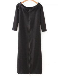 Off The Shoulder Back Zip Up Dress - Black S