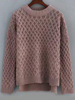 Basket Weave Knit High Low Sweater - Pale Pinkish Grey 9xl