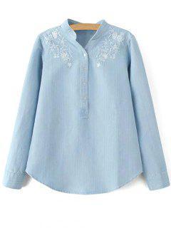 Stand Neck Floral Embroidered Denim Shirt - Light Blue S