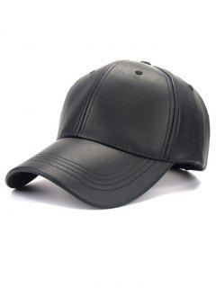 Smooth Faux Leather Baseball Hat - Black