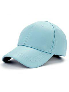 Smooth Faux Leather Baseball Hat - Light Blue