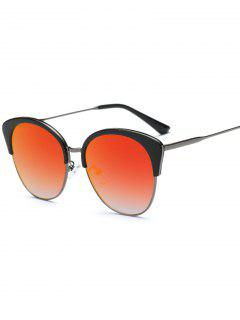 Double Rims Mirrored Butterfly Sunglasses - Jacinth