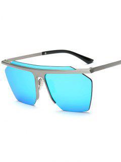 Rimless Mirrored Square Sunglasses - Light Blue