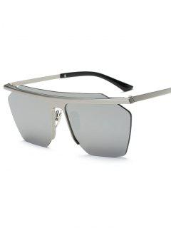 Rimless Mirrored Square Sunglasses - Silver