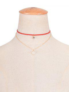 Collier Ras-de-cou Superposé Strass Fausses Perles - Rouge