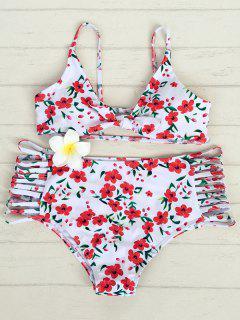 Small Floral Alta Subida Del Bikini - Blanco Xl