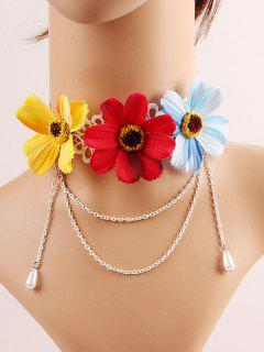 Chrysanthemums Faux Pearl Choker - Red