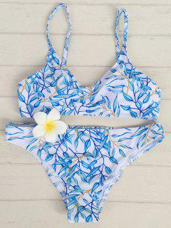 Low Rise Leaf Print Bikini - Blue And White S