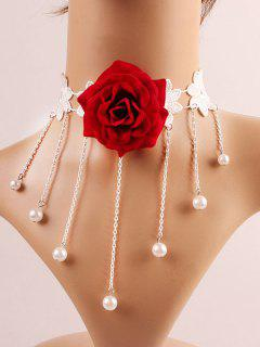 Flower Faux Pearl Fringe Choker - Red