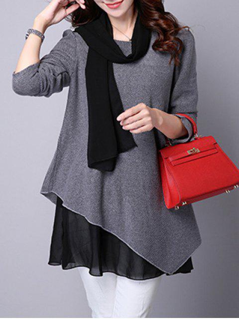 Asymmetrische Bluse mit Faux Twinset und Langarm - Grau XL  Mobile