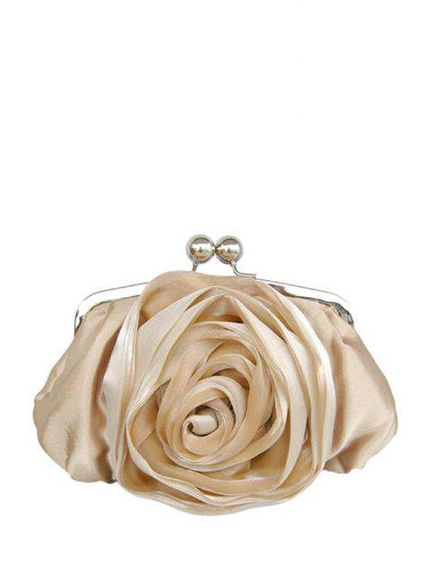 shops Kiss Lock Satin Flower Evening Bag - CHAMPAGNE  Mobile
