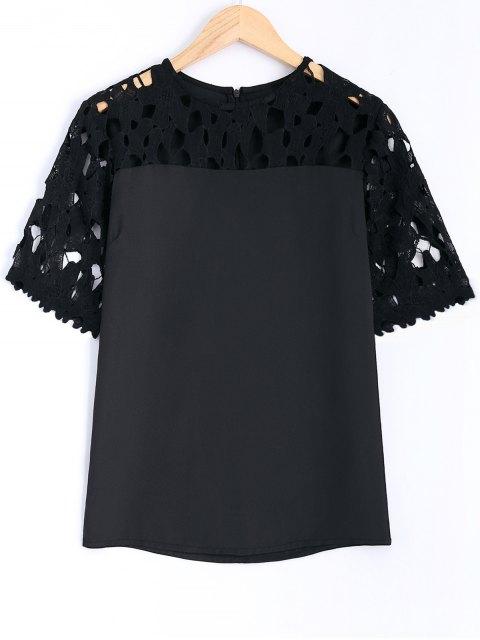 womens Guipure Lace Splicing Openwork Blouse - BLACK L Mobile