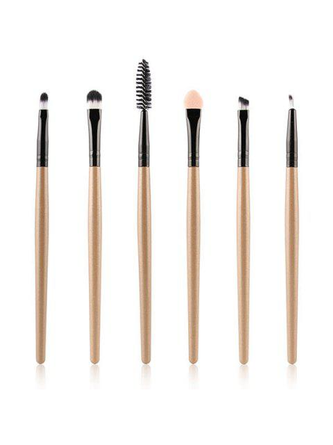 shop 6 Pcs Nylon Eye Makeup Brushes Set - CHAMPAGNE GOLD  Mobile