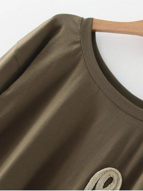 fancy Loose String T-Shirt - ARMY GREEN S Mobile