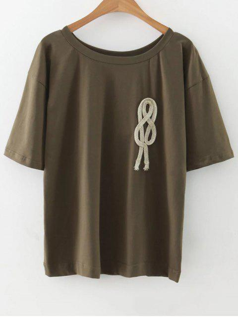 chic Loose String T-Shirt - ARMY GREEN M Mobile