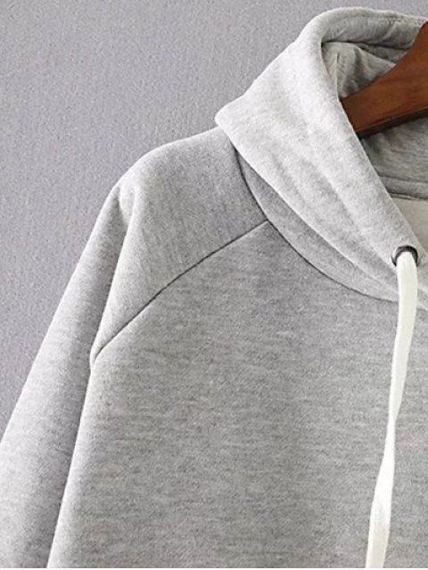 Pull à capuche ample avec fente latérale - Gris M Mobile