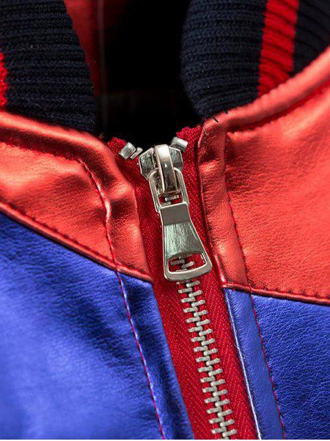 lady Color Block PU Bomber Jacket - MULTI L Mobile