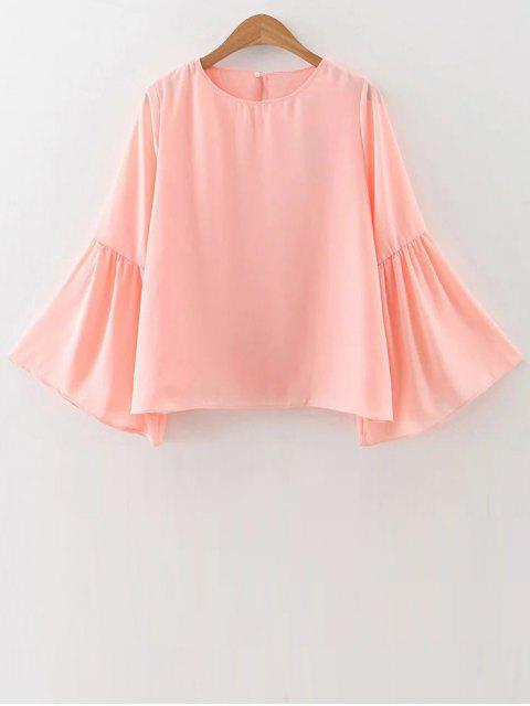 women Flare Sleeve Loose Chiffon Blouse - PINK M Mobile