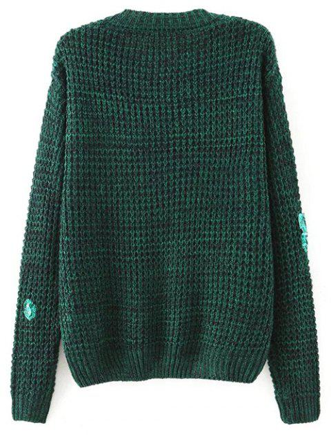 shop Sequins Round Neck Sweater - BLACKISH GREEN S Mobile