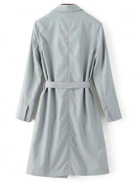shop Lapel Collar Belted Trench Coat - LIGHT GRAY M Mobile