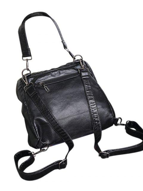 trendy Plaid Pattern PU Leather Magnetic Closure Backpack - BLACK  Mobile