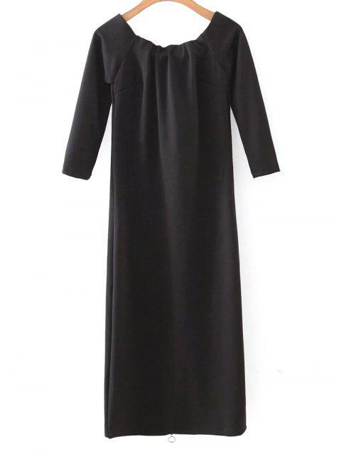 buy Off The Shoulder Back Zip Up Dress - BLACK M Mobile