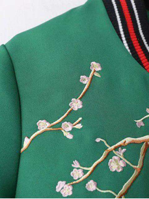 new Flower Embroidery Bomber Jacket - BLACK L Mobile