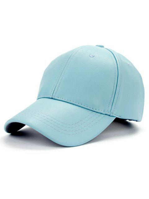 fashion Smooth Faux Leather Baseball Hat - LIGHT BLUE  Mobile