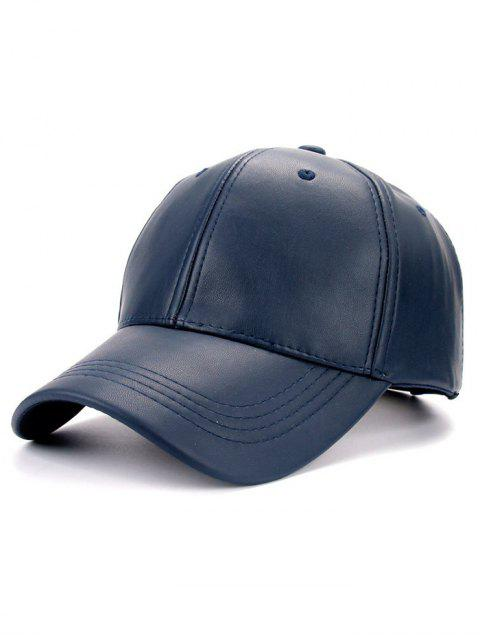 fancy Smooth Faux Leather Baseball Hat - CADETBLUE  Mobile