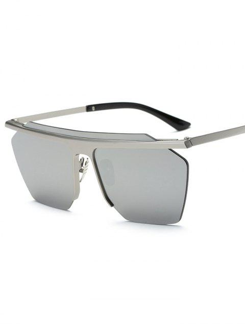 fashion Rimless Mirrored Square Sunglasses - SILVER  Mobile