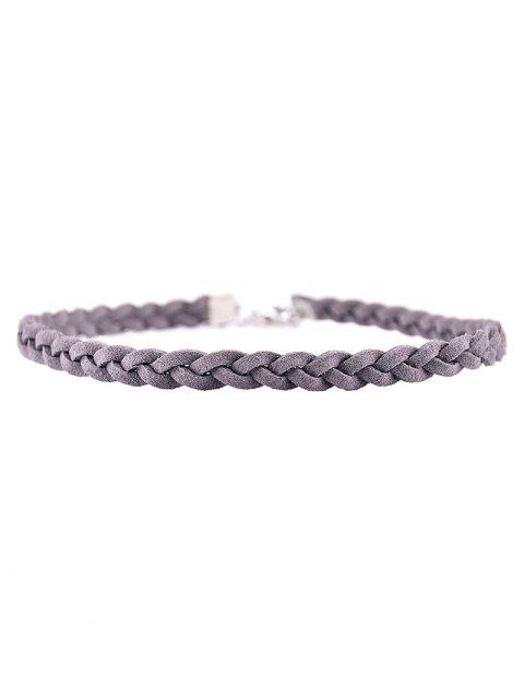 shops Faux Leather Rope Woven Choker - GRAY  Mobile