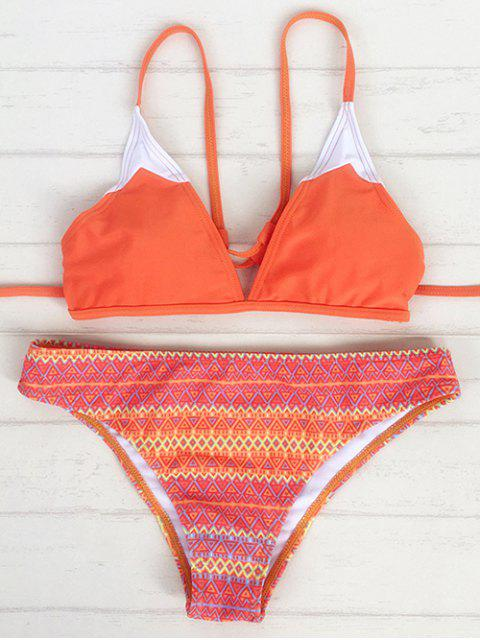 outfits Strappy Back Plunge Bikini - ORANGE L Mobile