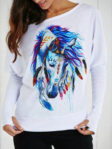 انحراف طوق الكرتون الحصان طباعة تي شيرت - أبيض S