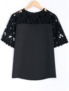 Guipure Lace Splicing Ajouré Blouse - Noir 5xl