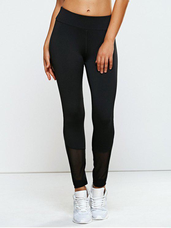 trendy High Waisted Mesh Spliced Yoga Leggings Pants - BLACK M