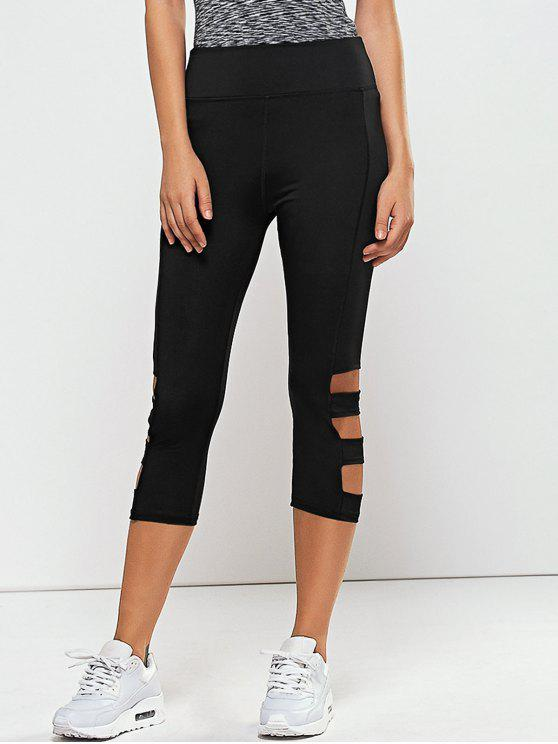 Hollow Out Quick -Dry Gimnasio Capri pantalones de entrenamiento - Negro S