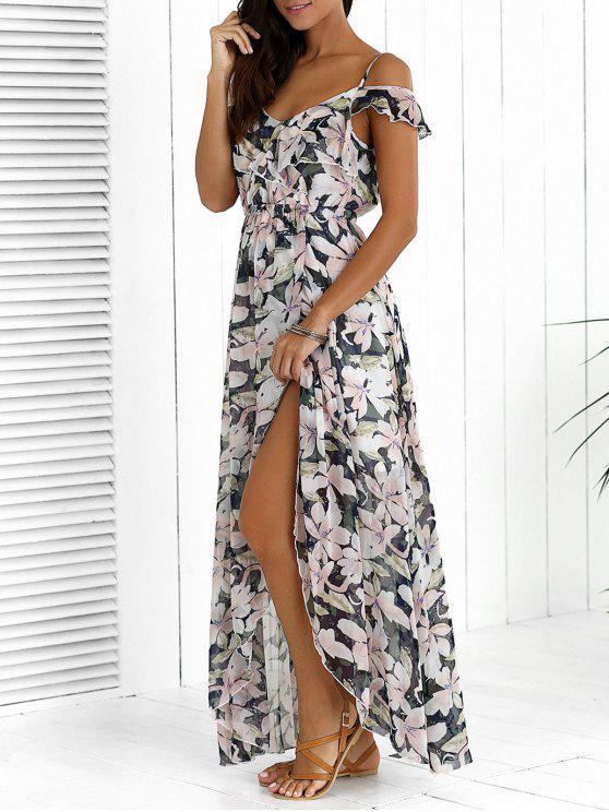 فستان ماكسي طباعة الأزهار عالية انقسام غير متماثل - مزيج ملون 2XL