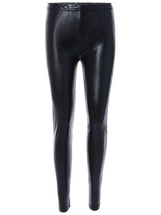 fashion Elastic High Waist PU Leather Leggings - BLACK ONE SIZE