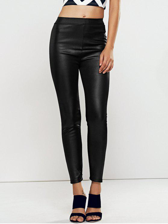 unique High Waisted Faux Leather Skinny Leggings - BLACK ONE SIZE