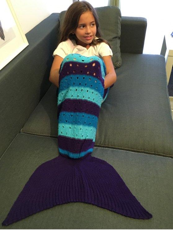 الكروشيه الحياكة بأمتصاص ذيل حورية البحر بطانية للطفل - مزيج ملون