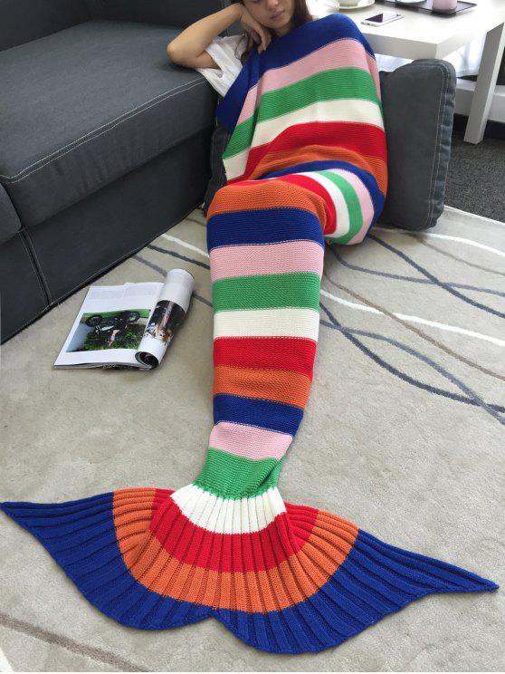 الاكريليك الحياكة الملونة مخطط حورية البحر الذيل تصميم بطانية - ملون
