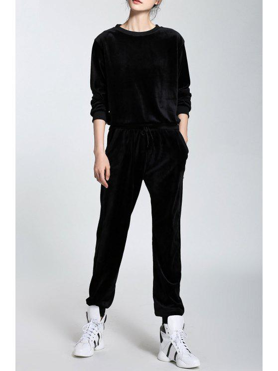 shop Velour Long Sleeve Sweatshirt and Drawstring Pants - BLACK S