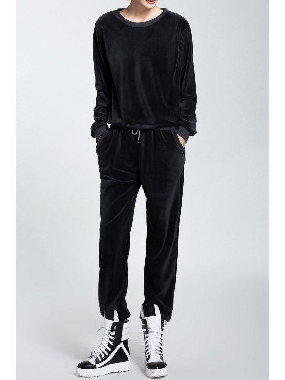trendy Velour Long Sleeve Sweatshirt and Drawstring Pants - BLACK GREY S