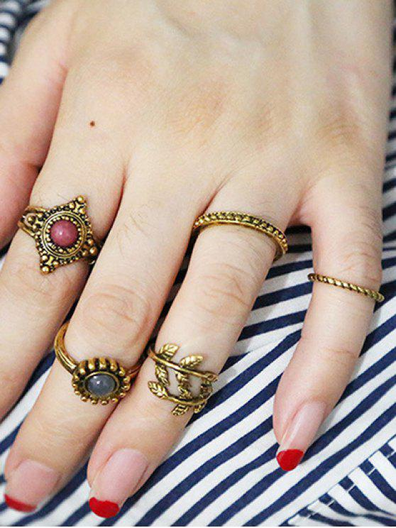 lady Rhinestone Alloy Leaf Boho Jewelry Rings - GOLDEN ONE-SIZE