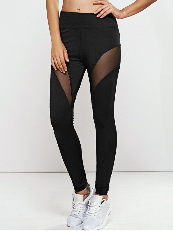 Pantalones Leggings de Yoga Rápido -Dry con malla - Negro L