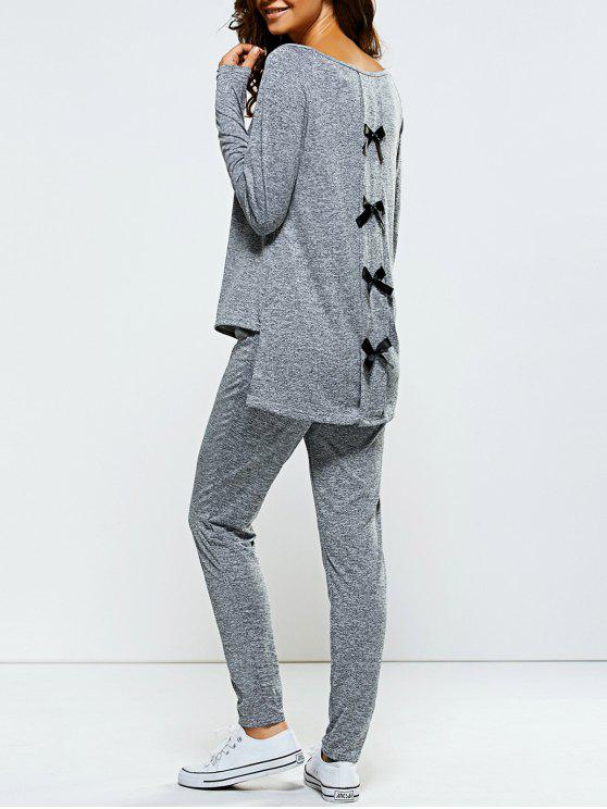 chic Bowknot Embellished Asymmetrical Sports Suit - GRAY M