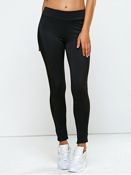 chic High Rise Mesh Panel Yoga Leggings - BLACK L