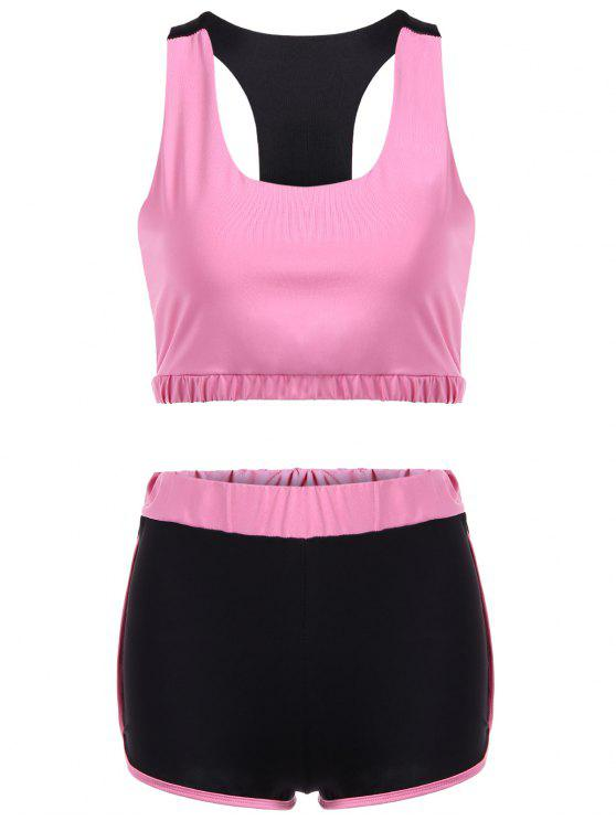 latest U Neck Sporty Bra and Color Block Shorts - PINK L