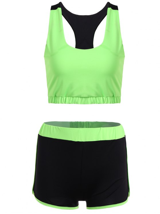 U Neck Sporty Bra e Color Block Shorts - Neon Verde XL