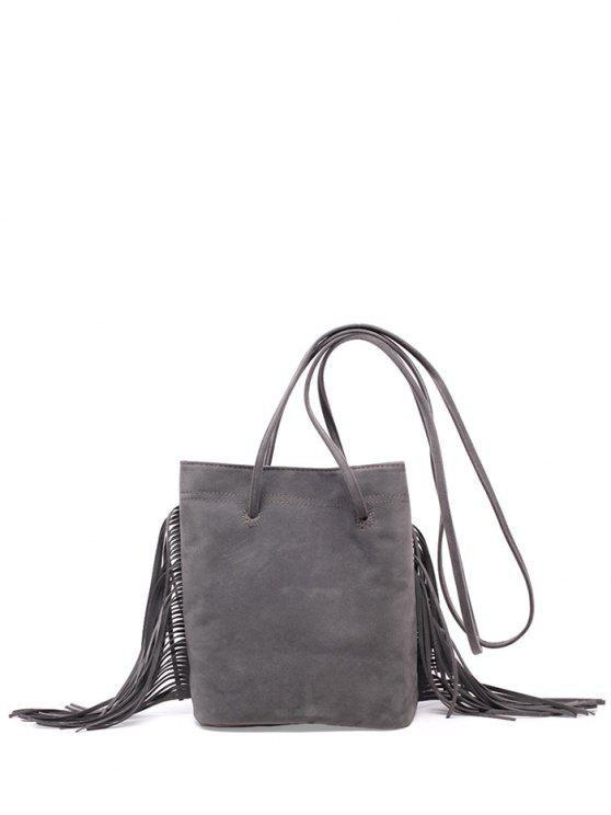 latest Fringe Stitching Faux Suede Crossbody Bag - GRAY
